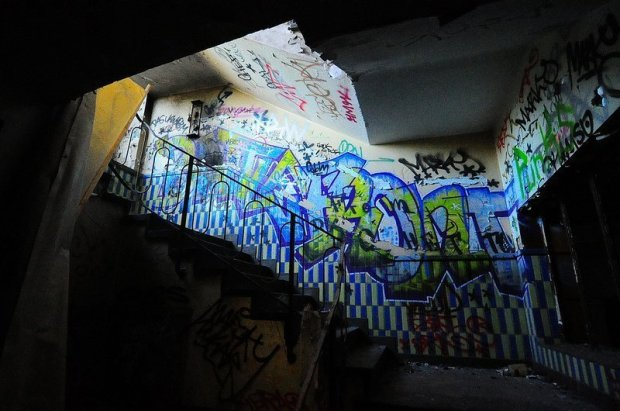staircase full of graffiti