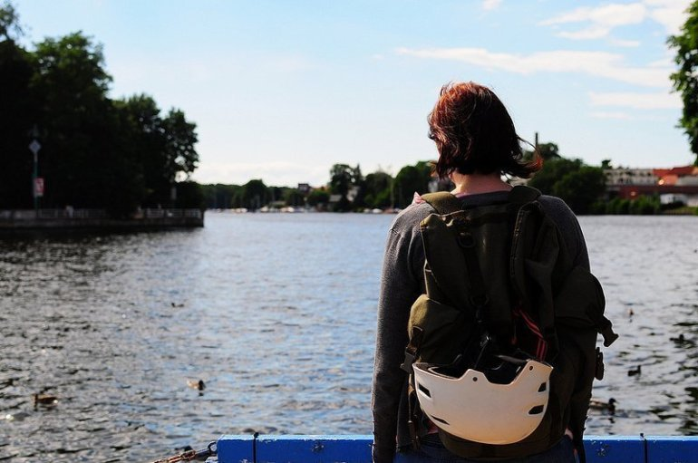 young woman by the spree