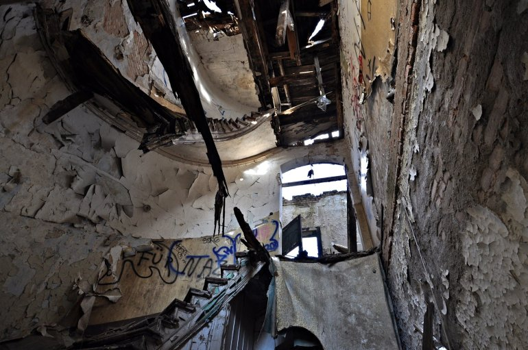 broken staircase abandoned villa germany lost places urbex