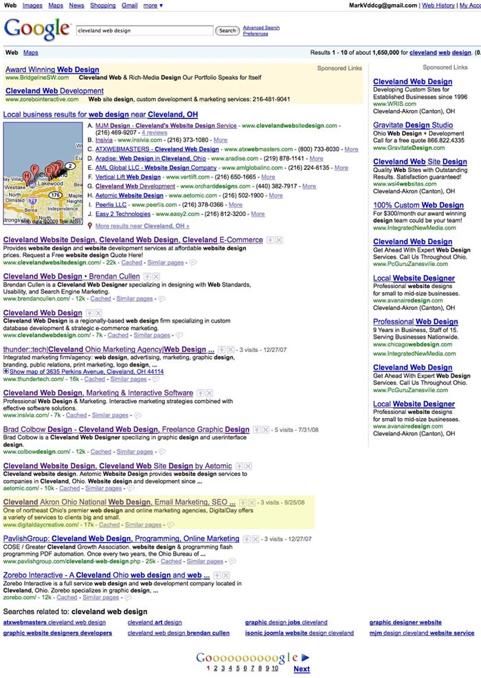 "Google Search Results for the terms ""cleveland web design"" on February 3, 2009."