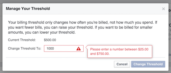 credit limit for facebook