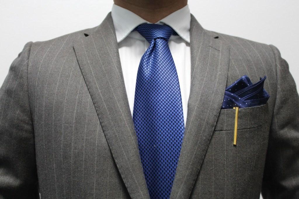 Grey Pinstripe+Dark Blue