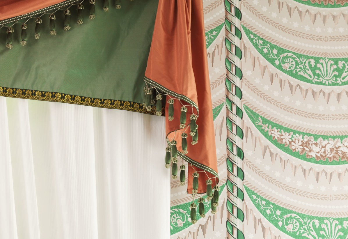 A close up of the tassels on the Madison Dining Room curtains.
