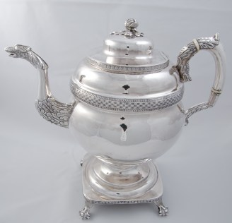 Whartenby & Bumm silver coffee pot (1812-1818) with Madison provenance through James C. McGuire, executor of Dolley Madison's and John Payne Todd's estate.