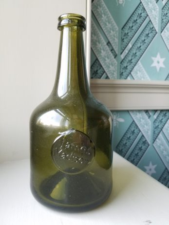 A reproduction wine bottle made from an original Madison wine bottle found at Montpelier.