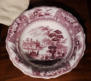 A Canova print washbowl in the color mulberry, in John Payne Todd's Room