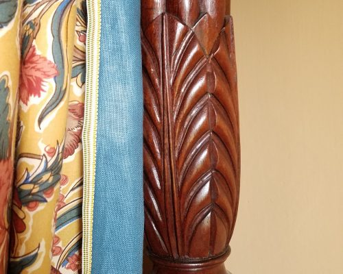 Detail photo of a bedpost from the Madison provenance bed in the Large Bedchamber at Montpelier.
