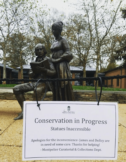 The James and Dolley bronze statue under conservation, 2019.