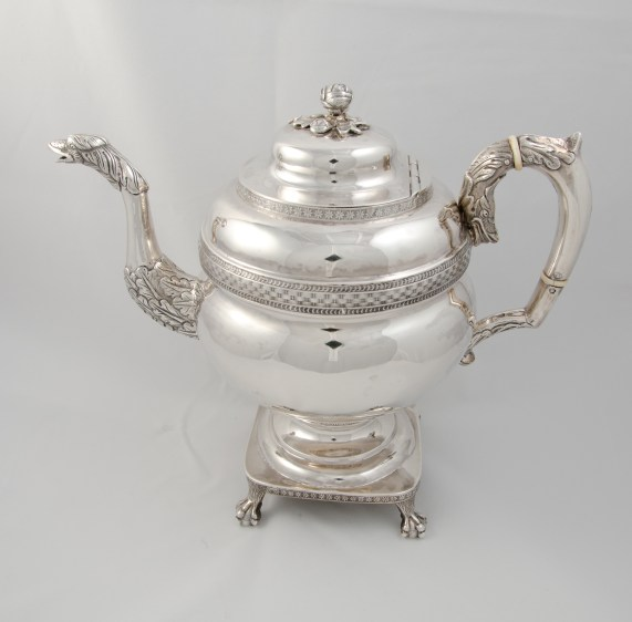 Whartenby & Bumm silver teapot (1812-1818) with Madison provenance through James C. McGuire, executor of Dolley Madison's and John Payne Todd's estate.