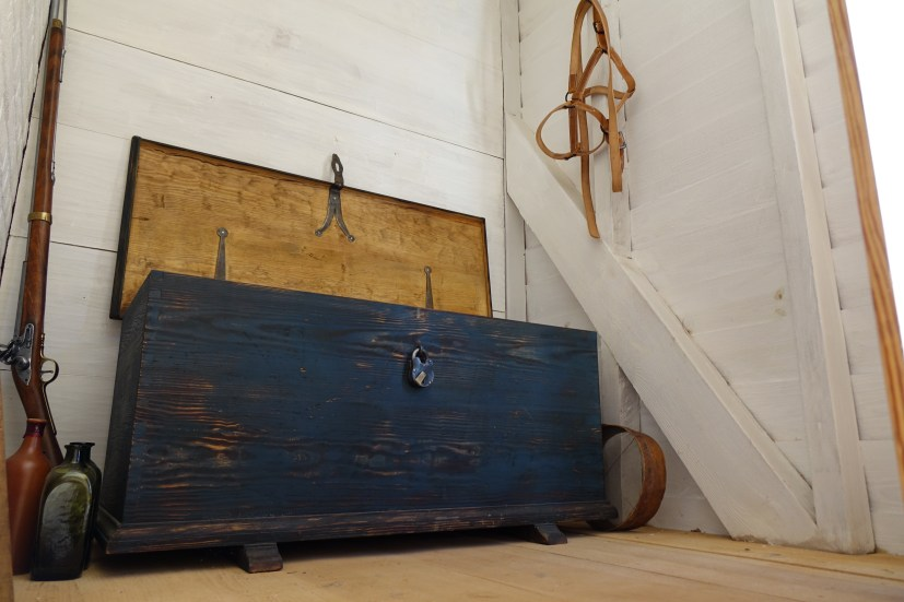 Reproduction chest made for the Stewart dwelling in the South Yard.