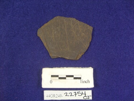 Piece of slate found archaeologically in the South Yard at Montpelier.