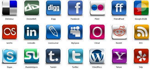 Sosyal vektörel buzlu ikon set