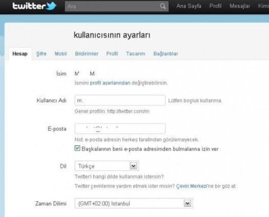 twitter türkçe yapmak
