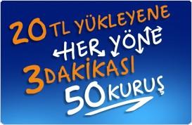 Turkcell 20 TL ile 3 dakikası 50 kuruş