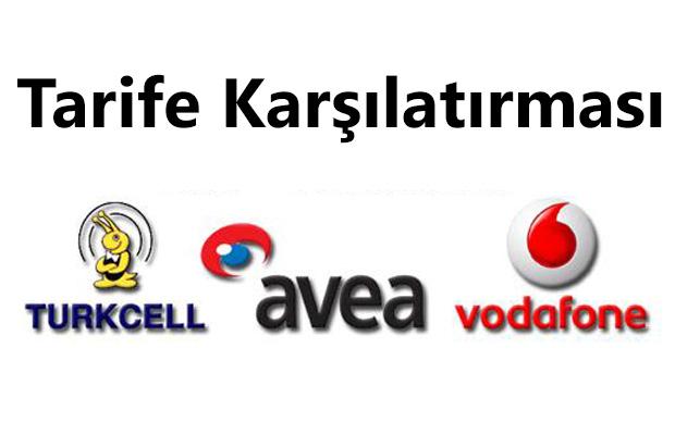 Avea Turkcell Vodafone tarife karşılaştırması