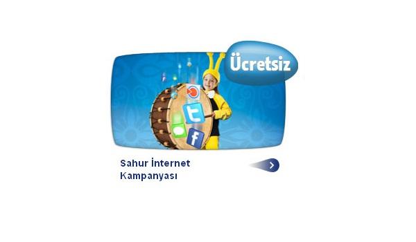 Turkcell de sahurda internet bedava