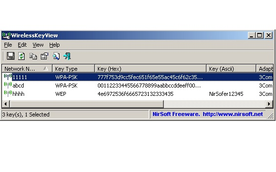 Bilgisayardaki kablosuz ağ şifre okuyucu