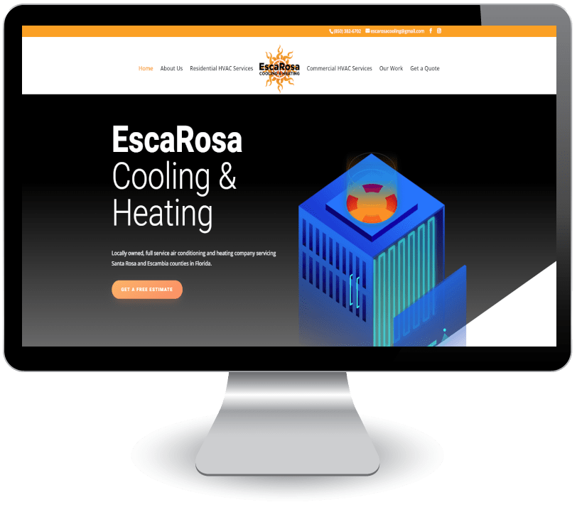 EscaRosa Cooling and Heating on computer screen