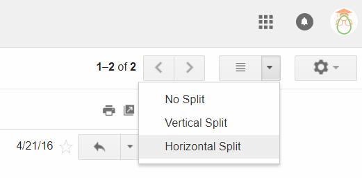 Gmail Tips - Gmail Preview Pane - 06 Horizontal Split Menu