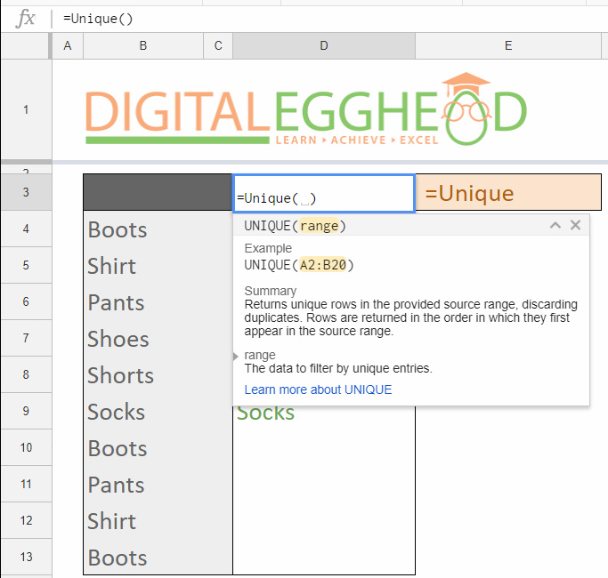Google Sheets Tips - Remove Duplicate Items - 02 UNIQUE Function