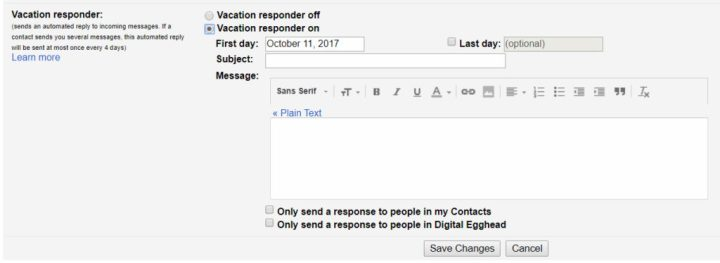 Gmail Tips - Auto Reply - 02 Vacation Responder