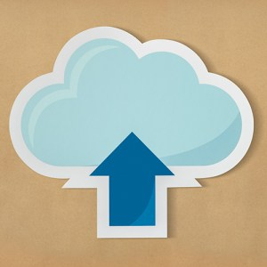 Graphic representing uploading data to the cloud