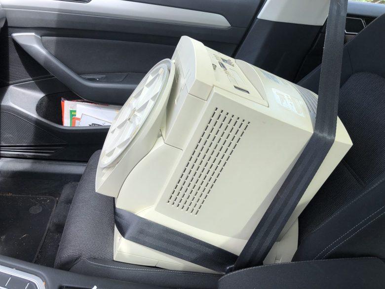 Apple MacIntosh Performa 5200. Transport auf dem Beifahrersitz