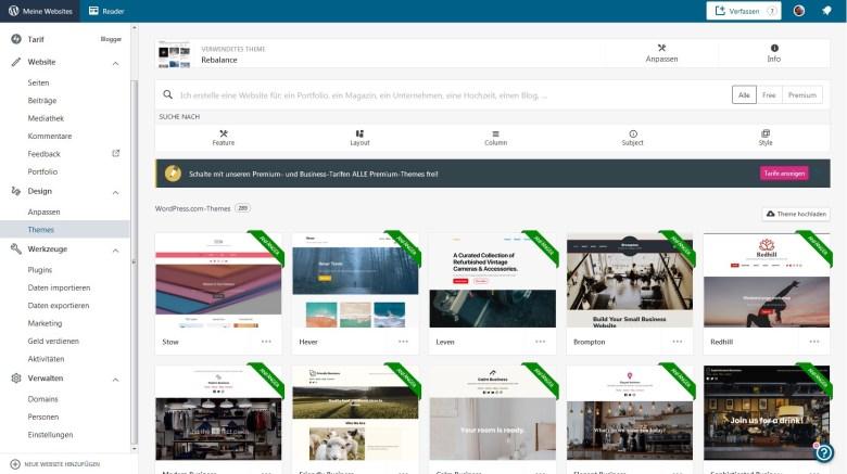 WordPress.com-Oberfläche für Themes Auswahl - Variante 1