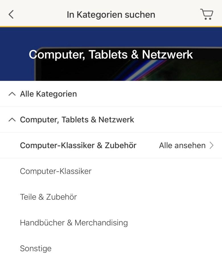 Die richtige Kategorie für klassische Computer in eBay findet man unter Computer-Klassiker & Zubehör