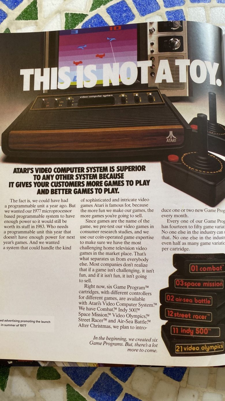Werbung zum Atari VCS 2600 und den Computerspielen