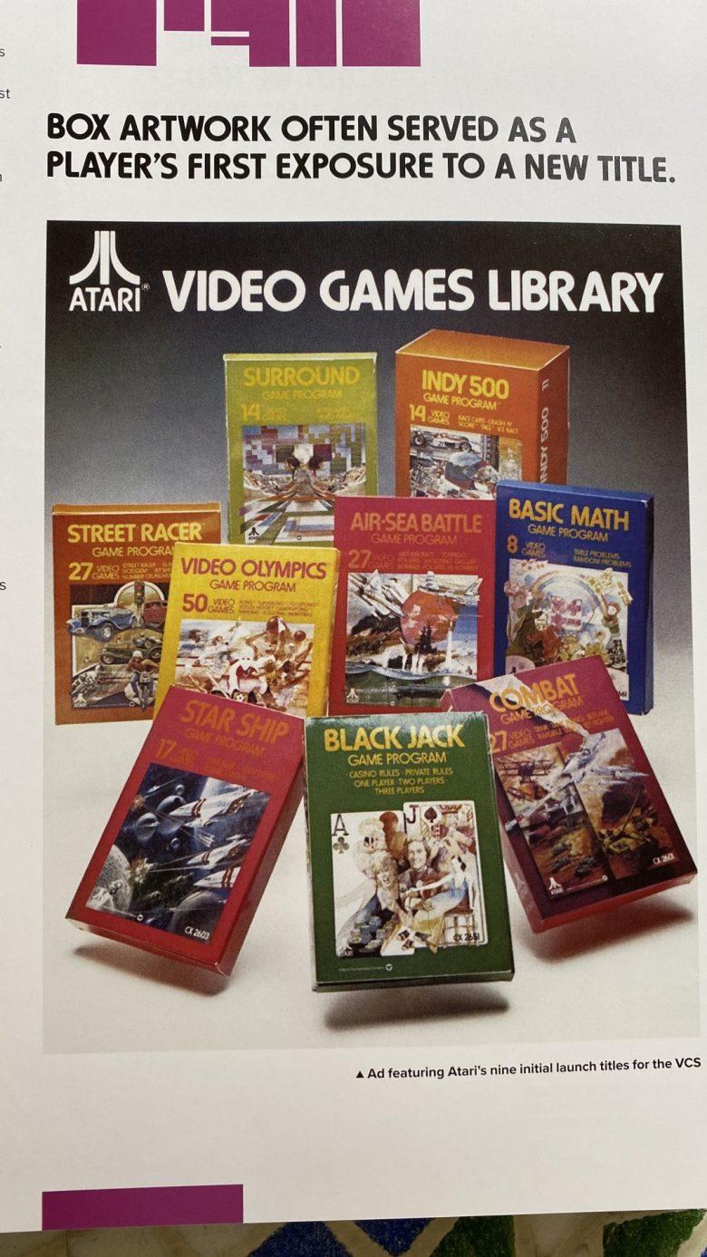 Eine Übersicht von Verpackungen der Atari VCS Spiele. Kunst machte die Blöckchengrafik besser vorstellbar und hob den Imagination Gap auf