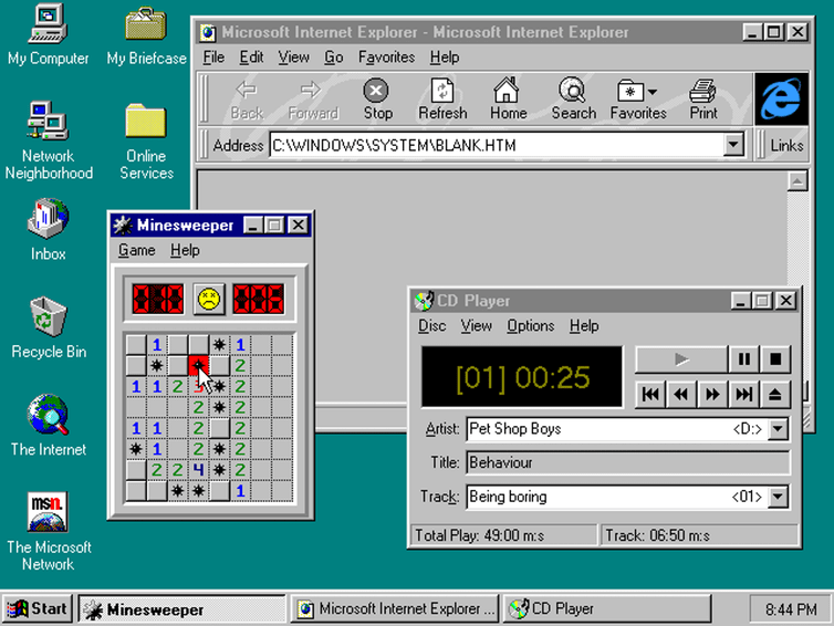 Der ikonische Windows 95 Desktop
