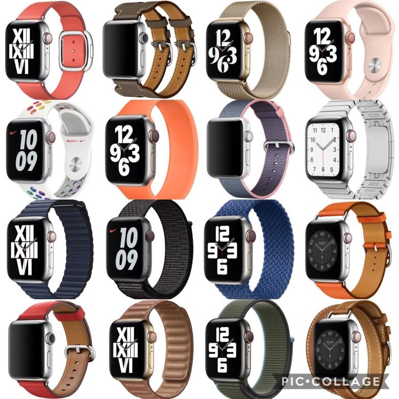 Apple Watch mit unterschiedlichen Apple Watch Bands. Apple Watch Fashion