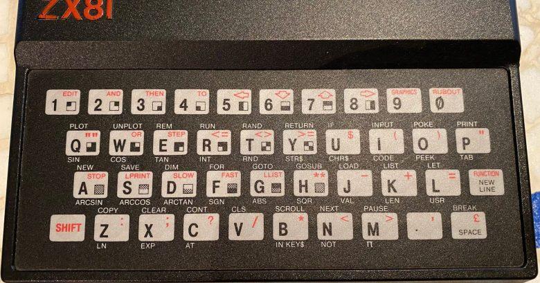 Die Tastatur des Sinclair ZX81. Man nannte es Folientastatur
