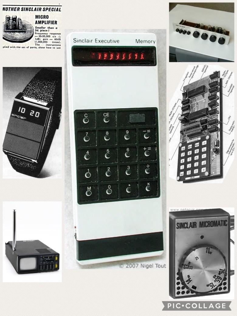 Eine Collage von Sinclair Produkten