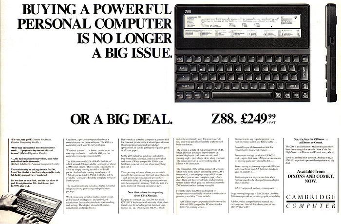 Der Cambridge Z88. Ein Computer, der von vielen Journalisten eingesetzt wurde