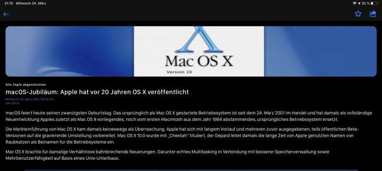 Mein Bericht wird fertig zum 20. Jubiläum von Mac OS X, OS X, macOS