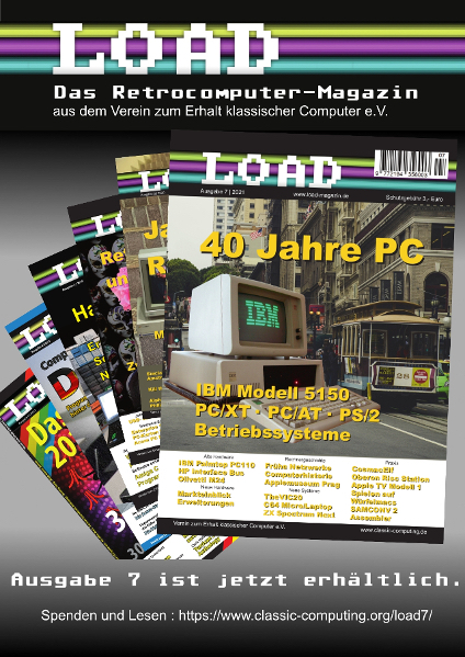 Ausgabe 7 des Club-Magazins Load - Retrocomputing für Sammler, Techniker und Spieler