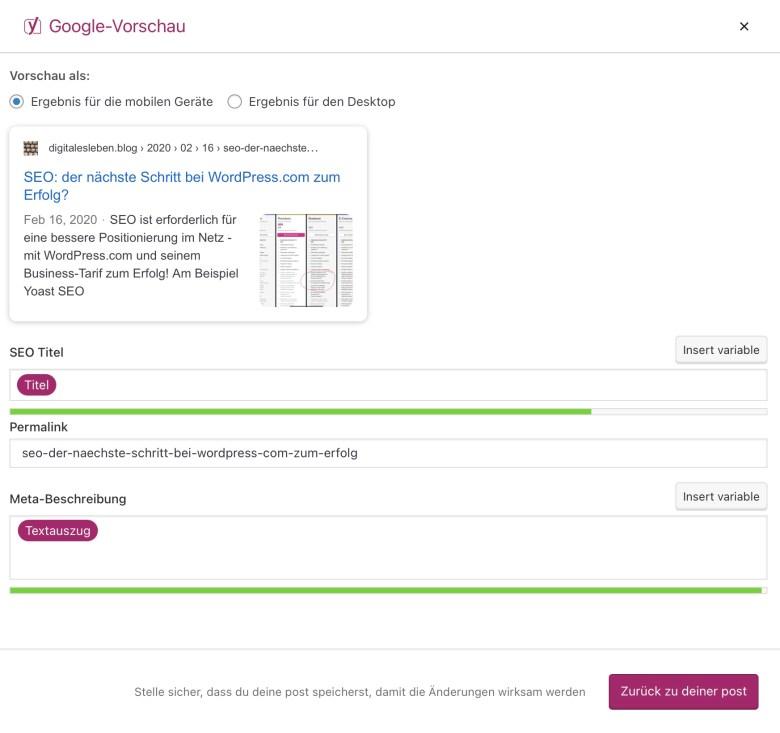 Screenshot einer Optimierung von SEO Titel und Meta-Beschreibung