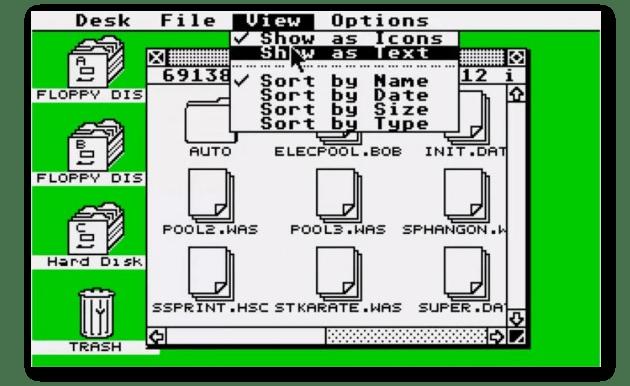 Der Original GEM Desktop. Kein Multitasking. Giftgrün und eher häßlich. Aber faszinierend.