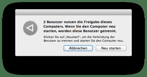 Welche Benutzer nutzen die Freigaben am Mac?