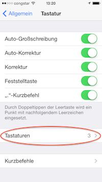 iOS Einstellungen > Tastaturen