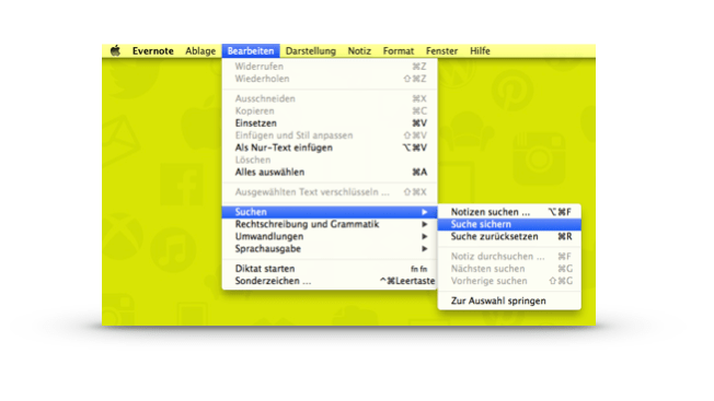 Evernote Saved Search: Menü