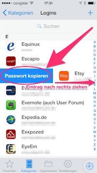 Passwort kopieren