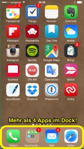 Mehr Apps im Dock