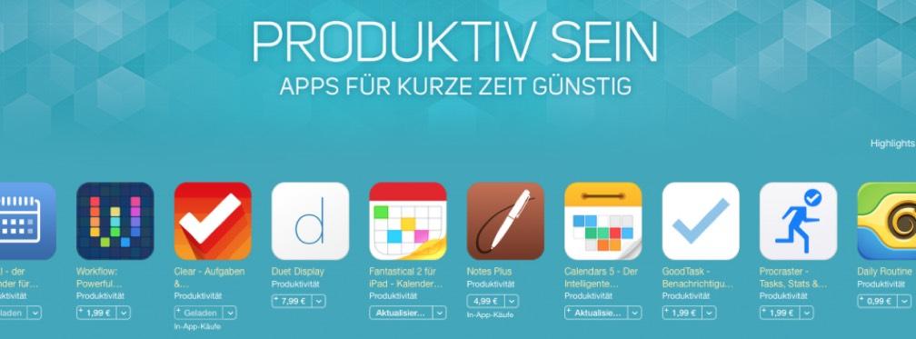 Aktuell: Preisaktion für Produktivitäts-Apps im App Store!