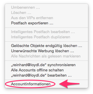 Dropdown: Accountinformationen