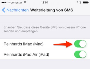 Weiterleitung zum Mac aktivieren!