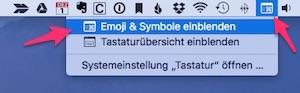 Emoji Tastatur Mac Menüleiste