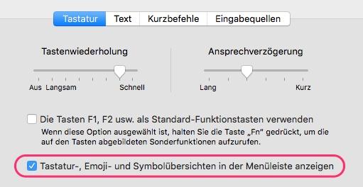 Emoji Tastatur Mac Menüleiste (Systemeinstellungen)